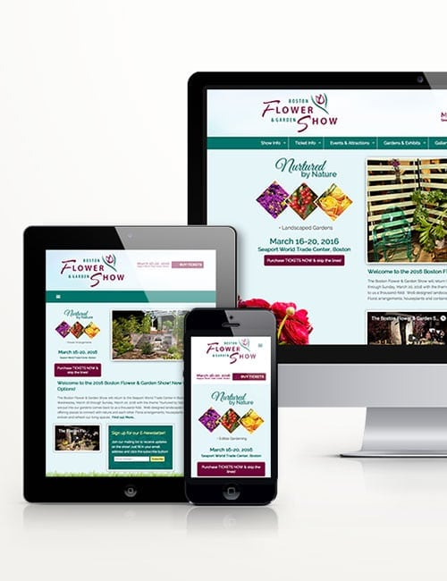 boston flower show responsive website