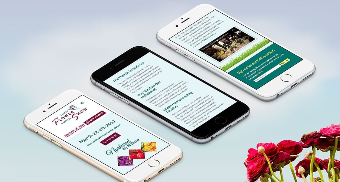 boston flower show responsive wordpress website mobile view
