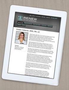 Renew Skincare Website Design Tablet View