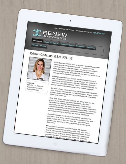 Renew Skincare Website Design Tablet View