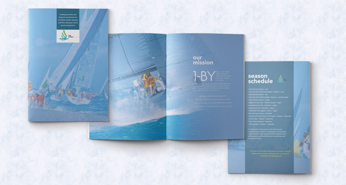 Image of brochure cover design and interior brochure page design for sailing company in Boston Area
