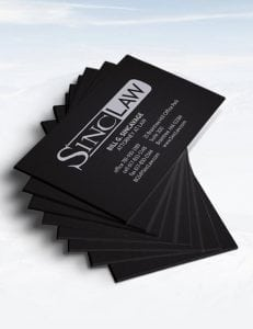 sinc law stationary business cards