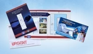 urgent care direct mail trifold brochure