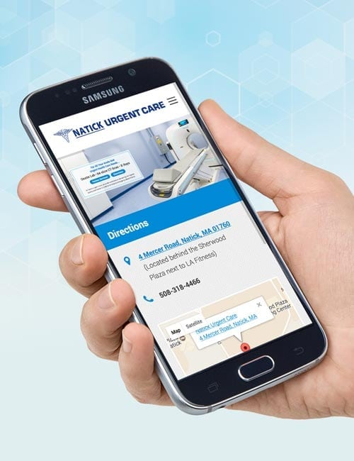 natick urgent care responsive website design