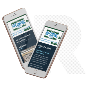 Boston RV and Camping Expo website on iphone