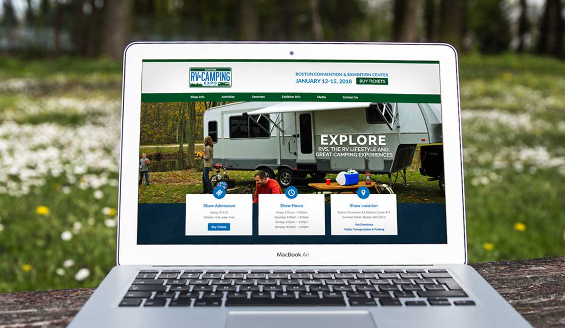 Custom website design for Boston RV and Camping Expo