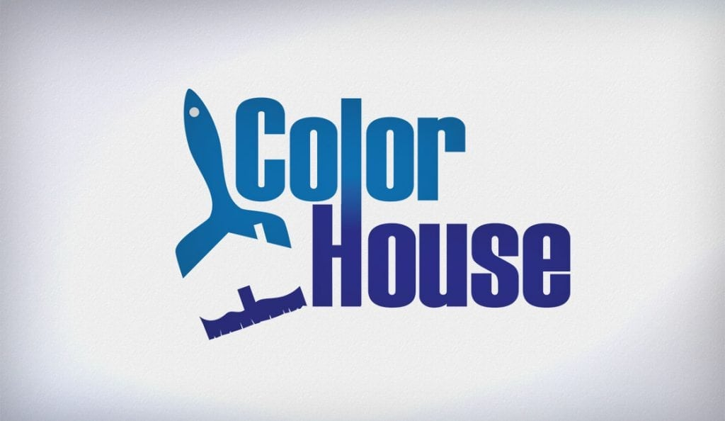 Clever logo design for home decor and paint store utilizes negative space to create house within paint brush
