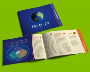 custom brochure design for educational company, with cover and open page spread