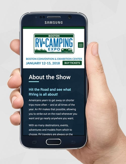 custom, responsive website design for Boston RV and Camping Expo website