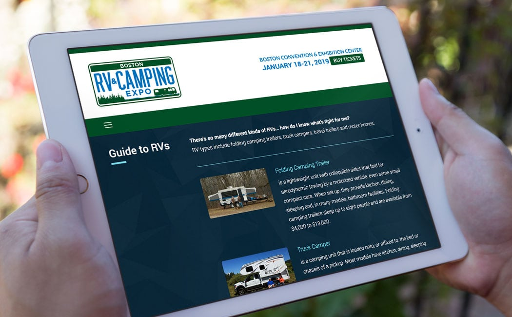 Website for RV camping Expo in Boston